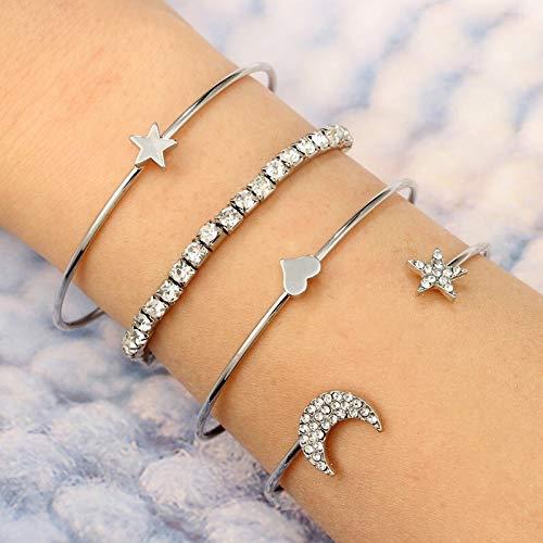 Boho Bangle Heart Star Moon 4pcs/Set Punk Gold Silver Moon Star Heart Bracelets Set for Women Adjustable Charms Bracelet Bangle Boho Jewelry