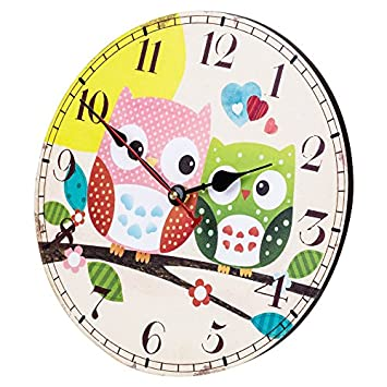 SkyNature Wooden Wall Clock, 14 Inch Large Art Hanging Clock, Silent Non-Ticking, Great for Decorate Kids Bedroom, Living Room, Dining Room, Kitchen – Owl Family