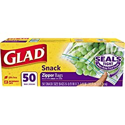 Glad Zipper Food Storage Snack Bags - 50 Count - 12 Pack