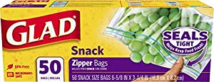 Glad Food Storage Bags, Snack Zipper, 50 Count (Pack of 12)