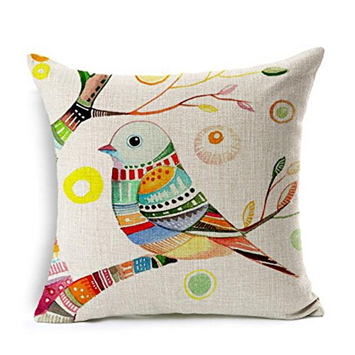 (ME COO European Rural Pillow case Cushion Covers Blend Cushion Bird and Flower Parrot Cushion Decorative Pillows Home Decor Throw Pillow Cushion 18Inches × 18Inches 1pcs)