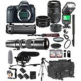 Canon EOS 6D Mark II 50mm f/1.8 STM Prime + Tamron 70-300mm f/4-5.6 Di LD + 500mm Telephoto + 128GB Memory + Pro Battery Bundle + Power Grip + TTL Speed Light + Pro Filters,(25pc Bundle)