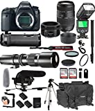 Cheap Canon EOS 6D Mark II with 50mm f/1.8 STM Prime + Tamron 70-300mm f/4-5.6 Di LD + 500mm Telephoto + 128GB Memory + Pro Battery Bundle + Power Grip + TTL Speed Light + Pro Filters,(25pc Bundle)