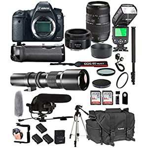 51Oo23NGxUL. SS300  - Canon EOS 6D Mark II with 50mm f/1.8 STM Prime + Tamron 70-300mm f/4-5.6 Di LD + 500mm Telephoto + 128GB Memory + Pro Battery Bundle + Power Grip + TTL Speed Light + Pro Filters,(25pc Bundle)