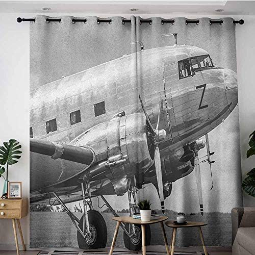 (AGONIU Thermal Insulated Blackout Curtains,Vintage Airplane Old Airliner Cockpit Antique Engine Propellers Wings and Nostalgia Image,Grommet Curtains for Bedroom,W84x96L Grey Black)