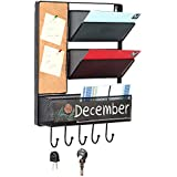 Wall Mounted Mesh Metal Hanging Mail Sorter, Storage Basket w/ Chalkboard, Cork Board & Key Hooks, Black