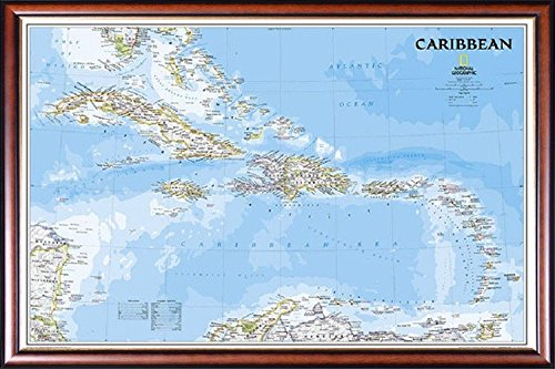 raphic Political Caribbean Map 24x36 Dry Mounted in Executive Series Walnut Wood Frame With Gold Lip - Crafted in USA (Caribbean Walnut)