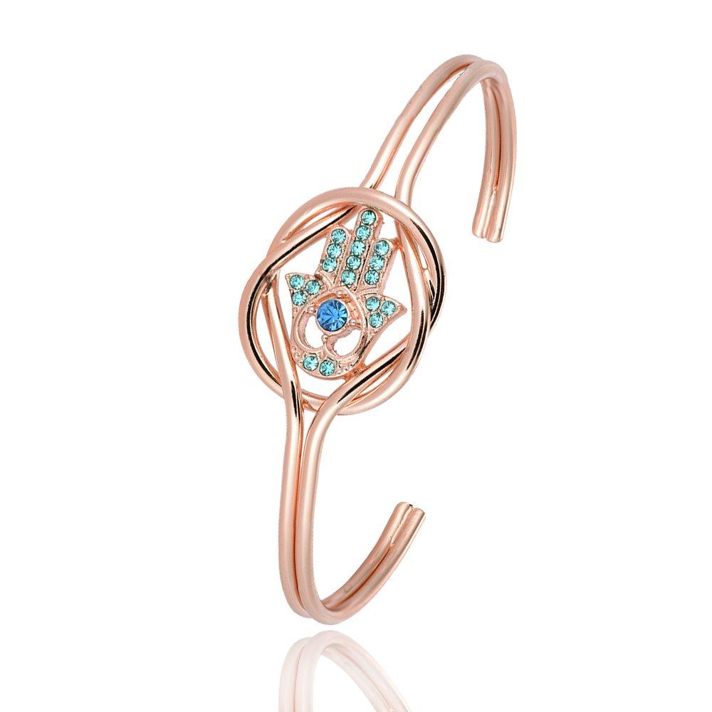 RUXIANG Evil Eye Hand Crown Bracelet Bangle for Women