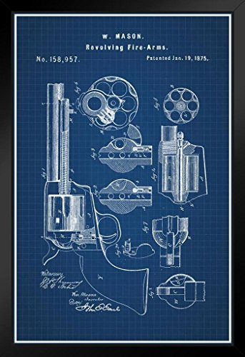Revolver 1875 Official Patent Blueprint Framed Poster by ProFrames 14x20 inch