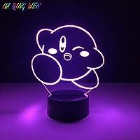 3D-illusionslampa LED nattlampa unikt barn Kirby spel för barnrum lysande födelsedagspresent baby som sover