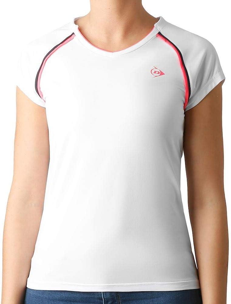 Dunlop Camiseta para Mujer, Color Blanco, Rosa, Talla XS