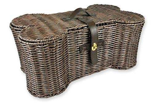 "GHP 21""x13""x8"" Medium Weave Bone Shape Faux Leather Handle Organizer Storage Basket"