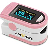 Acc U Rate® Pro Series CMS 500D Deluxe Fingertip Pulse Oximeter Blood Oxygen Saturation Monitor with silicon cover, batteries and lanyard (Blushing Pink)