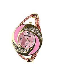 Whirlwind Circle Women Round Crystal Rhinestone Decorat Bangle Cuff Bracelet Watch Quartz Wristwatch