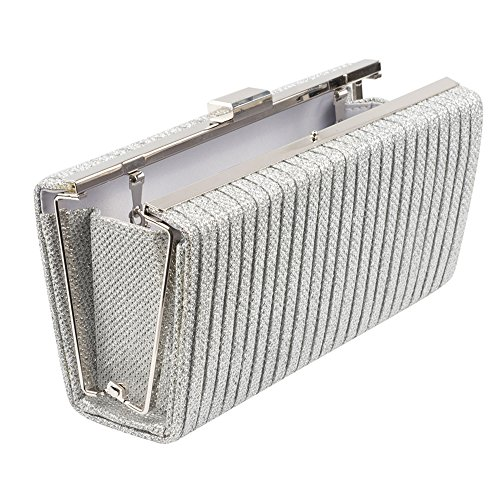 Purse Handbag Box Evening Pleated Regale Silver Clutch Frame La Sparkle Jacquard tqfzwq