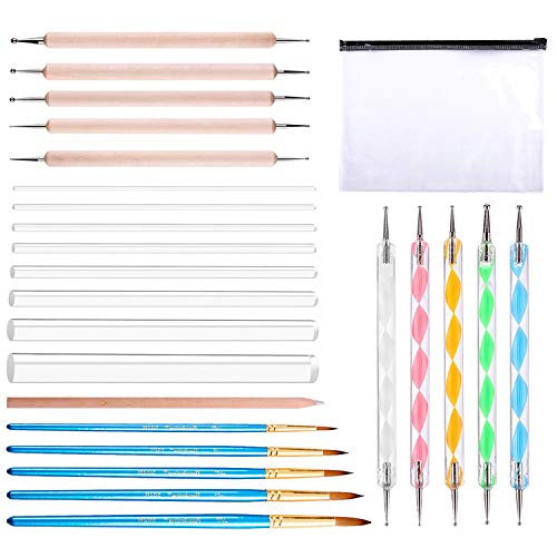 Whaline 25 Pieces Dotting Tool Set for Mandala Rock Painting, Nail Art Painting, Drawing & Drafting and Kids Crafts
