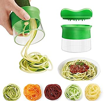 VanseRun - Espiralizador de verduras de mano en espiral, cortador en espiral que crea infinitos espaguetis, espiralizador y cortador de verduras, ...