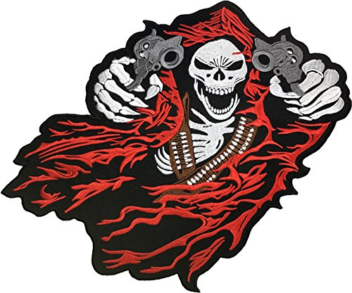 Red Riding Hood Diy Costumes ([Large Size] Papapatch Grim Reaper Two Gun God Angel of Death Ghost Dangerous Evil Scythe Devil Biker Punk Ride Motorcycle Costume Jacket DIY Embroidered Sew Iron on Patch - Red (IRON-GRIM-TWO-GUN))