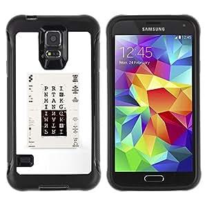 "Pulsar iFace Series Tpu silicona Carcasa Funda Case para Samsung Galaxy S5 V , Imprimir cartel minimalista Blanco Negro"""
