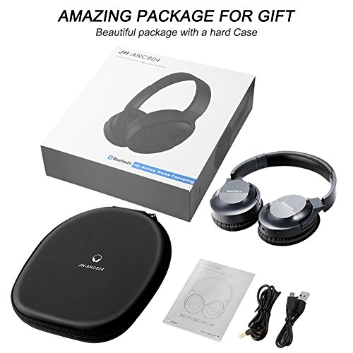 Jeestam Active Noise Cancelling Wired/Wireless Bluetooth Headphones with Microphone, Comfortable Protein Earpads Rotatable, Over Ear Headset Hi-Fi Stereo Deep Bass for Travel Work PC TV Phone (black) by Jeestam (Image #6)