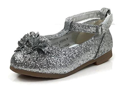 67b347a1262d0 Galleon - America Dogs Toddler Girls Adora Glitter Ballet Flats Silver 7 US  Toddler