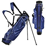 Tangkula Golf Stand Bag Lightweight Organized Golf Bag Easy Carry Shoulder Bag with 3 Way Dividers and 4 Pockets for Extra Storage Sunday Golf Bag, Blue (Blue)
