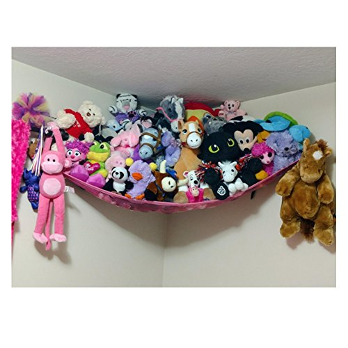 Jumbo Toy Hammock, Powkoo Extra Large Toy Hammock Storage Net Organizer | Dimensions: 84 x 59 x 59 inches for Stuffed Animals, Nursery Play, Teddies (Pink)