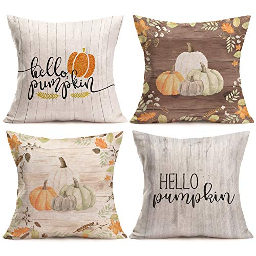 (Aremazing Autumn Hello Pumpkin Quotes Throw Pillow Covers Cotton Linen Cushion Cover Halloween Thanksgiving Home Sofa Decorative Pillowcase 18''x18'' Set of 4 (Set of 4 Hello Pumpkin) )