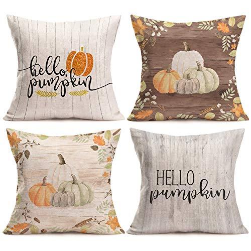Aremazing Autumn Hello Pumpkin Quotes Throw Pillow Covers Cotton Linen Cushion Cover Halloween Thanksgiving Home Sofa Decorative Pillowcase 18''x18'' Set of 4 (Set of 4 Hello Pumpkin) for $<!--$16.89-->