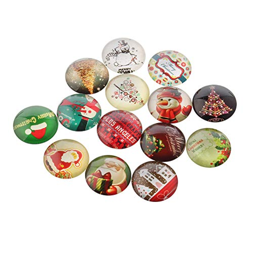 ARRICRAFT 200pcs Multicolored Half Round Dome Christmas Glass Beads 10mm Flat Back Cabochons for Jewelry Making