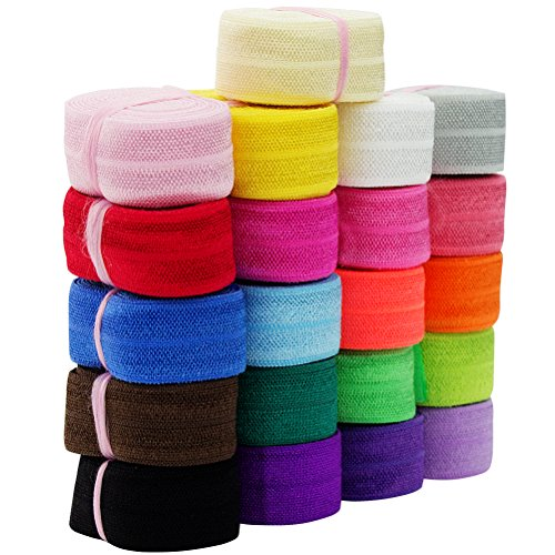 Habibee 21 Yards Fold Over Elastic Stretch Foldover FOE Elastics Headbands Hair...