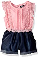 Limited Too Girls' Toddler Romper, Flutter Swiss dot Cream Light Pink, 4T