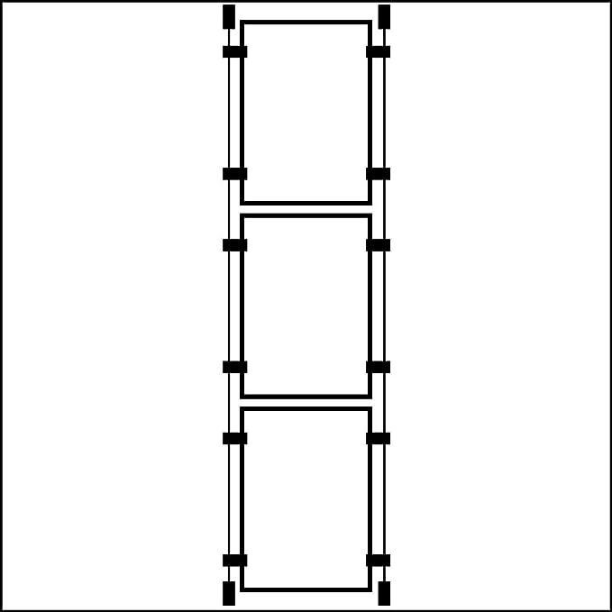 Schaufenster-Pr/äsentiersystem mit drei Haltern im A3-Hochformat