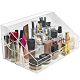 Sorbus Acrylic Cosmetics Makeup Organizer Storage Case Display with Slanted Open Lid-Cosmetic Storage for Makeup, Brushes, Perfumes, Skincare (Style 1 - Slanted Lid Sectional Top)