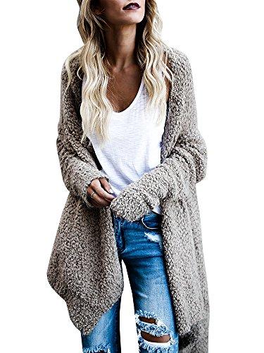 Cardigans for Women Fuzzy Open Front Kimono Cardigan Sweater Long Sleeves Asymmetric Hem Drape Top ()