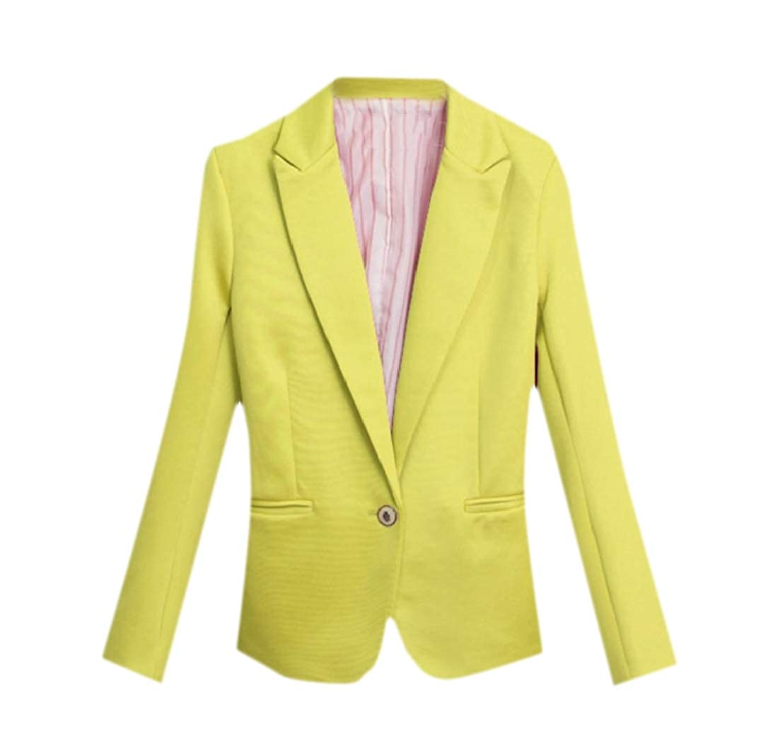 YUNY Women Comfort Coat Business Solid Colored Leisure Small Blazer Yellow XL