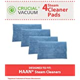 4 Highly Durable Washable Microfiber Steam Pads for HAAN Steam Mops & Floor Sanitizer; Compare to HAAN Part Nos. RMF2, RMF2P, RMF2X, RMF4X, RMF4, RMF-4; Designed & Engineered by Think Crucial