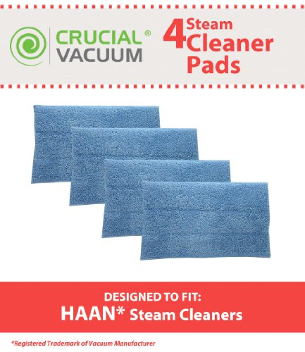 4 Replacements for HAAN Microfiber Steam Pads Fit HAAN Steam Mops & Floor Sanitizer, Compatible With Part # RMF2, RMF2P, RMF2X, RMF4X, RMF4 & RMF-4, Washable & Reusable, by Think (Steam Floor Sanitizer)