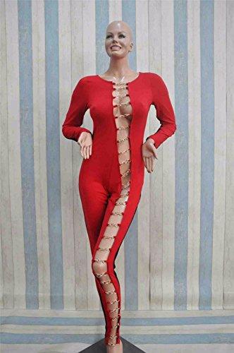 Femmes Sexy Manches Longues Side Boucle En Metal Moulante Slim Wrap Jumpsuit Rompers Sl