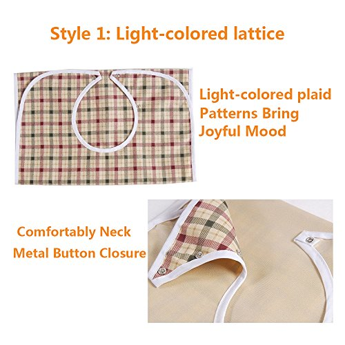 Adult Bibs Special Needs Patient Mealtime Eating Cloth Clothing Protectors Reusable Waterproof Large Long Feeding Bibs for Seniors (2 pcs - Lattice) by NEPPT (Image #6)
