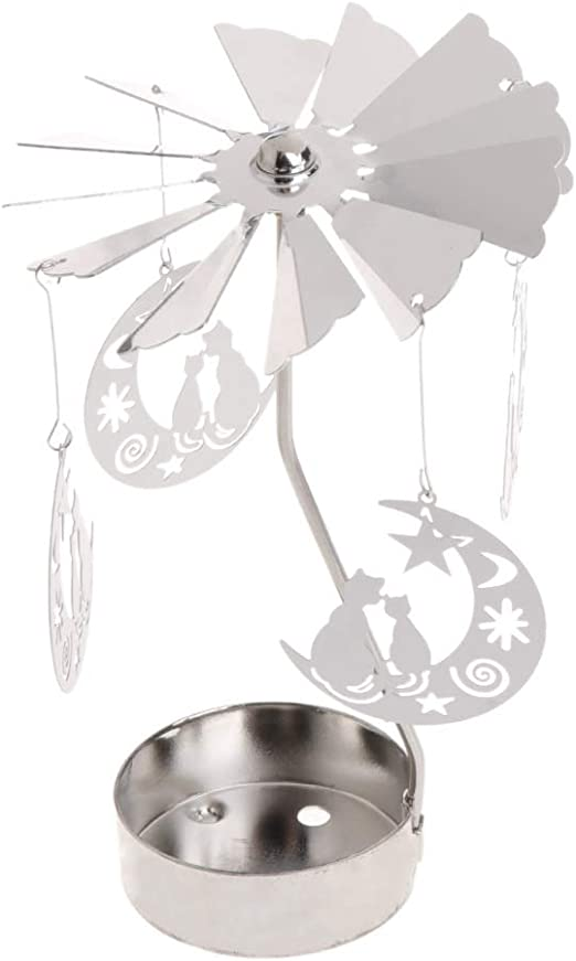 Rotary Spinning Tealight Candle Metal Tea Light Holder Carousel Gifts Home Decor
