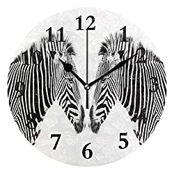 NMCEO Round Wall Clock Two Lovely Zebras Acrylic Original Clock for Home Decor Creative