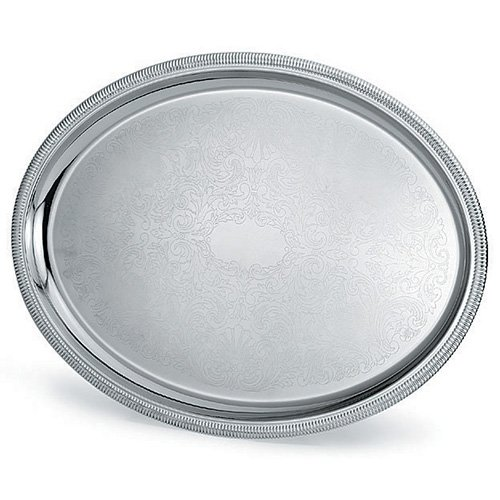 Vollrath 82111 Elegant Reflections 21-3/4 x 16 Oval S/S Serving Tray (Platters Oval Vollrath)