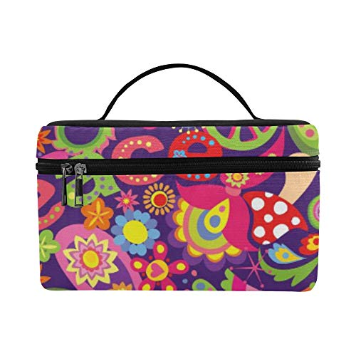 - Tribal Ethnic Flower Paisley Peace Sign Pattern Lunch Box Tote Bag Lunch Holder Insulated Lunch Cooler Bag For Women/men/picnic/boating/beach/fishing/school/work