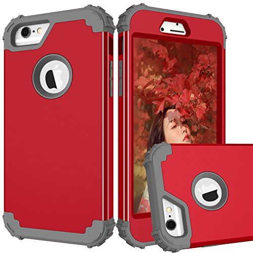 MAXCURY Case for iPhone 6, iPhone 6s Case, 3 in 1 Shockproof Slim Hybrid Hard PC Soft Silicone Rugged Rubber Bumper Full Body Protective Case Cover for iPhone 6/6S (4.7 inch) (Red Dark Grey)