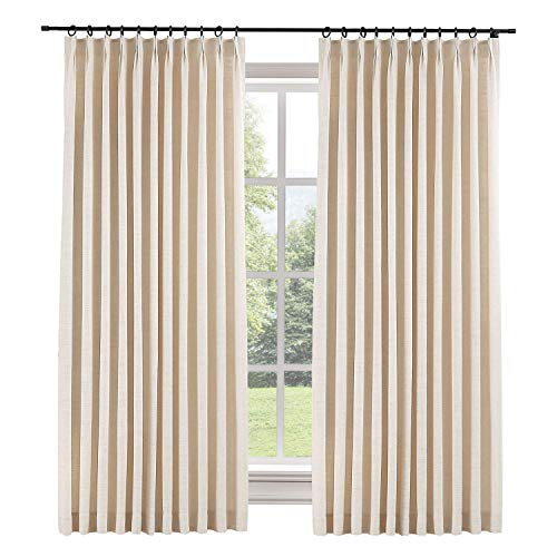 (TWOPAGES 52 W x 84 L inch Pinch Pleat Darkening Drapes Faux Linen Curtains with Blackout Lining Drapery Panel for Living Room Bedroom Meetingroom Club Theater Patio Door (1 Panel),Sand Beige)