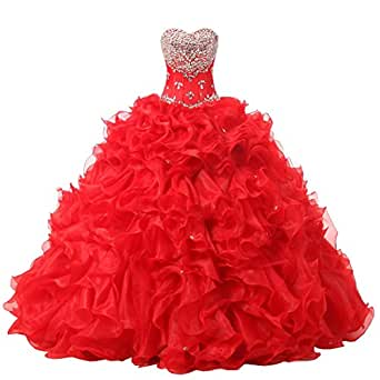 Women's Gorgeous Quinceanera Ruffles Heart Beads Dress Prom Evening Gown Plus Size Red US 24W