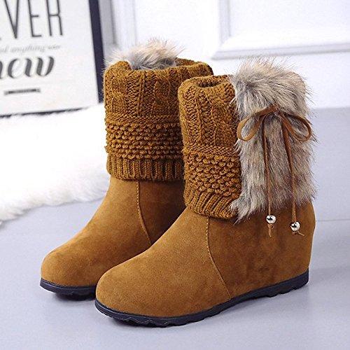 PU Moda Fall Invierno Mujer amarillo Tacón Plano Amarillo Tobilleras Botas Botas Casual ZHZNVX Redonda Zapatos Puntera HSXZ® Botas Negro de xgIq0B