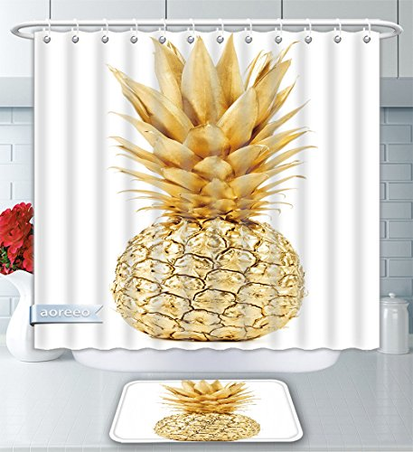 Aoreeo Bathroom Two-Piece Set Pineapple in Gold Isolated On White Background Shower Curtain Bath Rug Set, 79