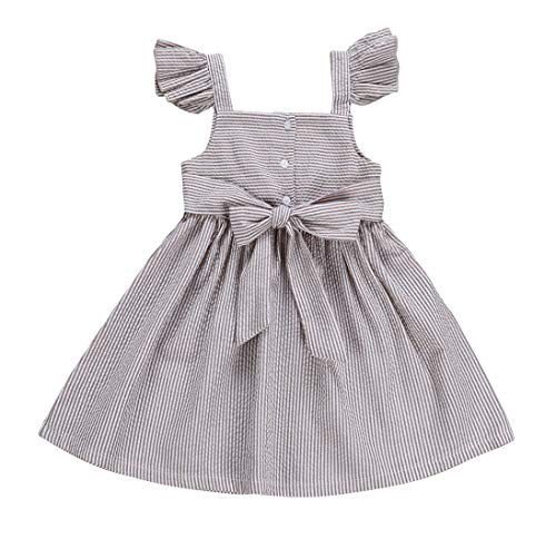 VISGOGO Newborn Baby Kids Girls Dress Bowknot Princess Ruffled Skirt Dress Clothes Outfit (5T) Grey from VISGOGO